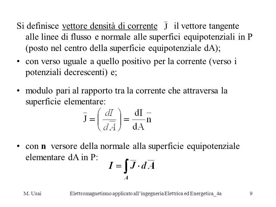 M. UsaiElettromagnetismo applicato allingegneria Elettrica ed Energetica_4a9 Si definisce vettore densità di corrente il vettore tangente alle linee d