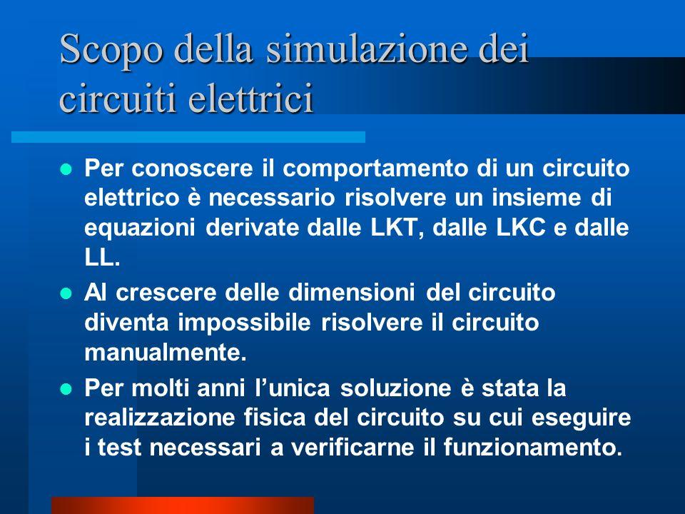 Scopo della simulazione dei circuiti elettrici Per conoscere il comportamento di un circuito elettrico è necessario risolvere un insieme di equazioni