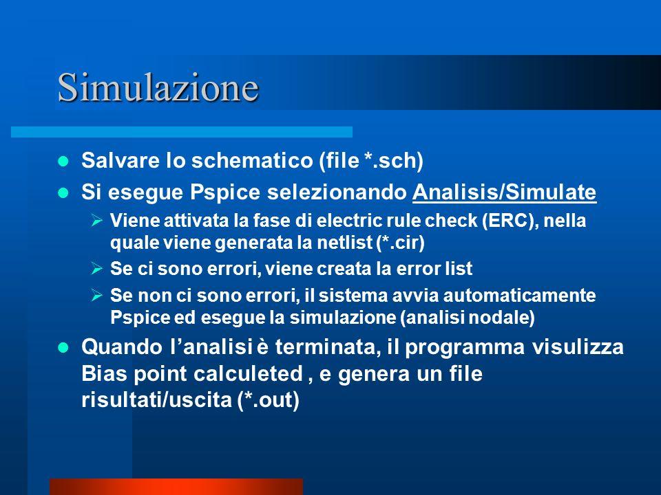 Simulazione Salvare lo schematico (file *.sch) Si esegue Pspice selezionando Analisis/Simulate Viene attivata la fase di electric rule check (ERC), ne