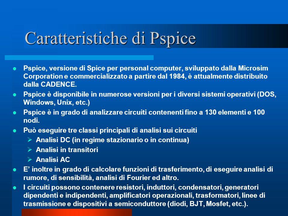 Caratteristiche di Pspice Pspice, versione di Spice per personal computer, sviluppato dalla Microsim Corporation e commercializzato a partire dal 1984
