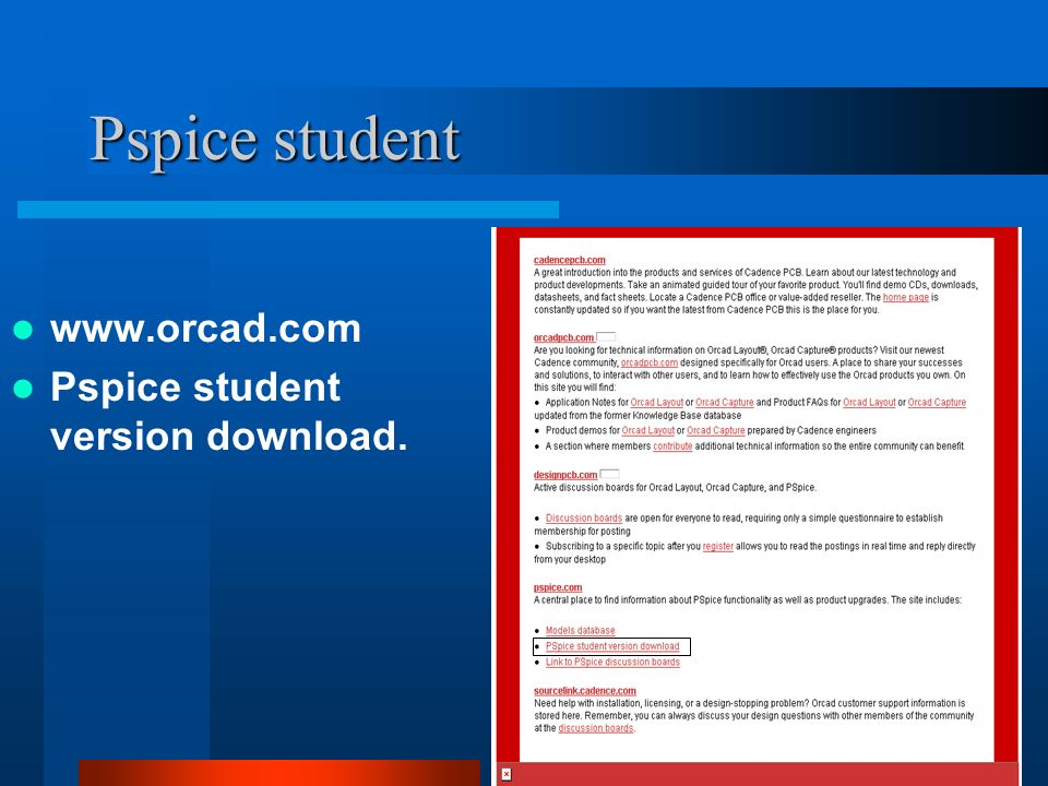 Pspice student www.orcad.com Pspice student version download.