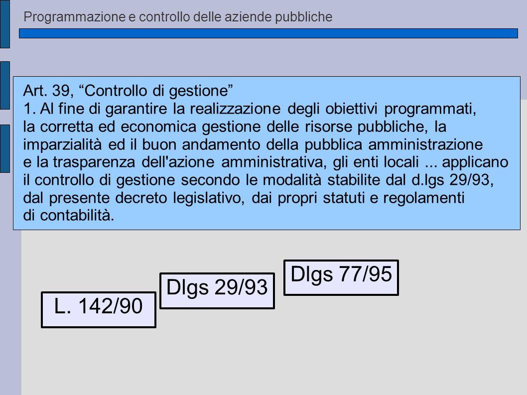 Programmazione e controllo delle aziende pubbliche L. 142/90 Dlgs 29/93 Dlgs 77/95 Art. 39, Controllo di gestione 1. Al fine di garantire la realizzaz