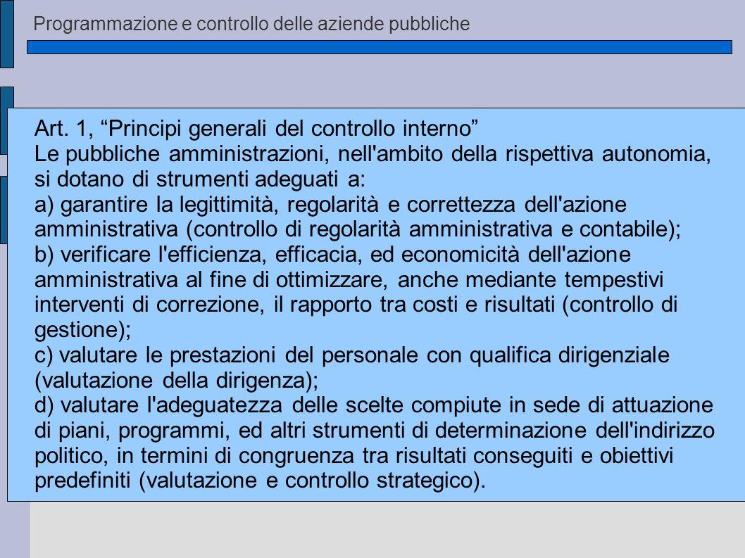Programmazione e controllo delle aziende pubbliche Art. 1, Principi generali del controllo interno Le pubbliche amministrazioni, nell'ambito della ris