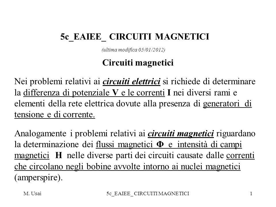 M. Usai5c_EAIEE_ CIRCUITI MAGNETICI1 Circuiti magnetici Nei problemi relativi ai circuiti elettrici si richiede di determinare la differenza di potenz