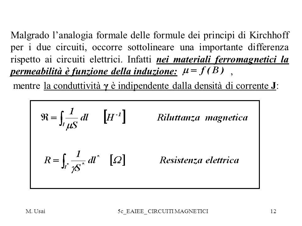 M. Usai5c_EAIEE_ CIRCUITI MAGNETICI12 Malgrado lanalogia formale delle formule dei principi di Kirchhoff per i due circuiti, occorre sottolineare una