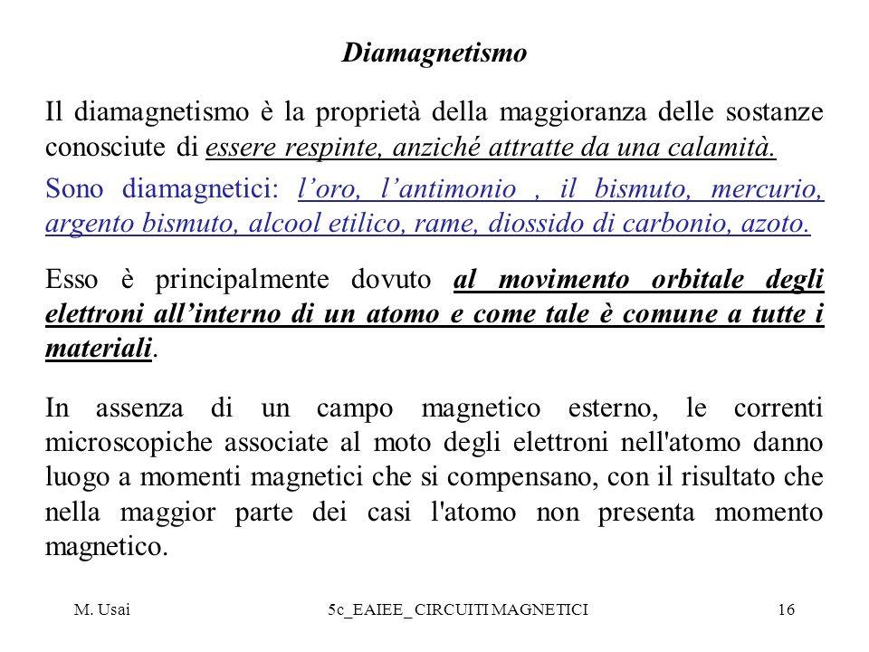 M. Usai5c_EAIEE_ CIRCUITI MAGNETICI16 Diamagnetismo Il diamagnetismo è la proprietà della maggioranza delle sostanze conosciute di essere respinte, an