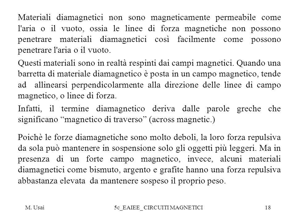 M. Usai5c_EAIEE_ CIRCUITI MAGNETICI18 Materiali diamagnetici non sono magneticamente permeabile come l'aria o il vuoto, ossia le linee di forza magnet