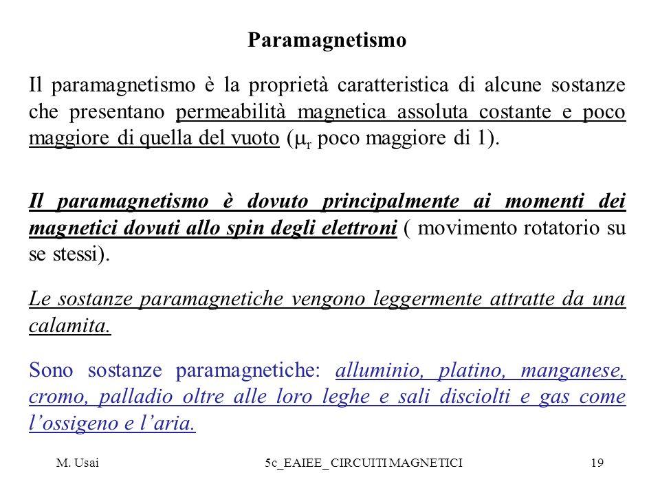 M. Usai5c_EAIEE_ CIRCUITI MAGNETICI19 Paramagnetismo Il paramagnetismo è la proprietà caratteristica di alcune sostanze che presentano permeabilità ma
