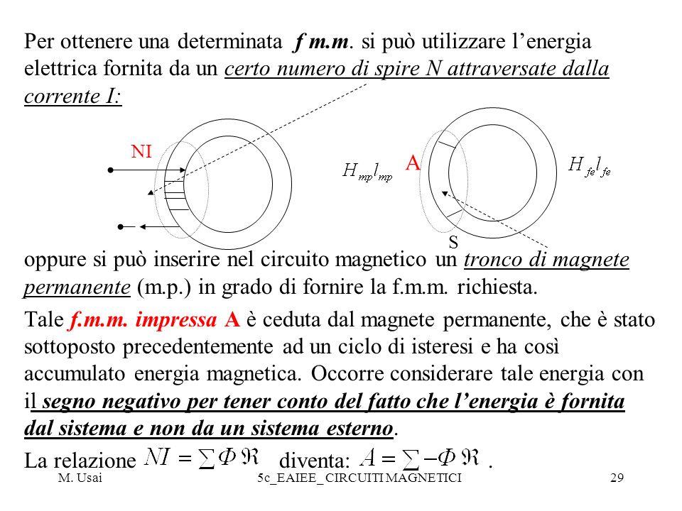 M. Usai5c_EAIEE_ CIRCUITI MAGNETICI29 Per ottenere una determinata f m.m. si può utilizzare lenergia elettrica fornita da un certo numero di spire N a