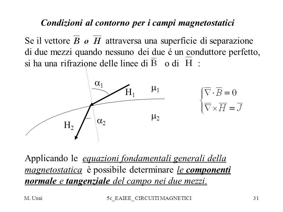 M. Usai5c_EAIEE_ CIRCUITI MAGNETICI31 Condizioni al contorno per i campi magnetostatici Se il vettore attraversa una superficie di separazione di due