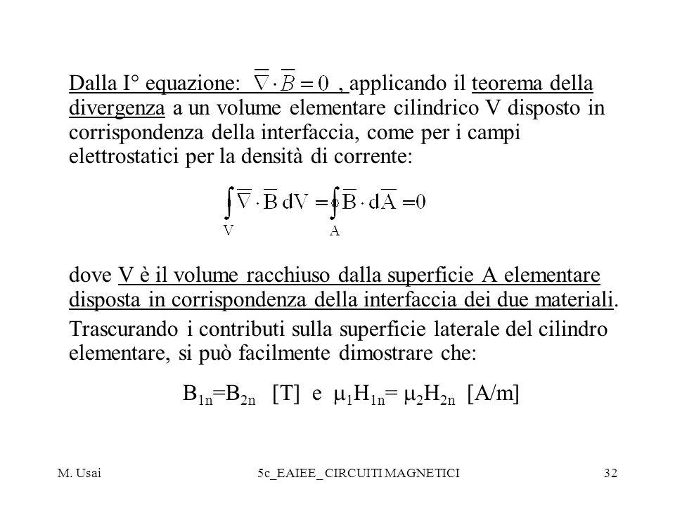 M. Usai5c_EAIEE_ CIRCUITI MAGNETICI32 Dalla I° equazione:, applicando il teorema della divergenza a un volume elementare cilindrico V disposto in corr
