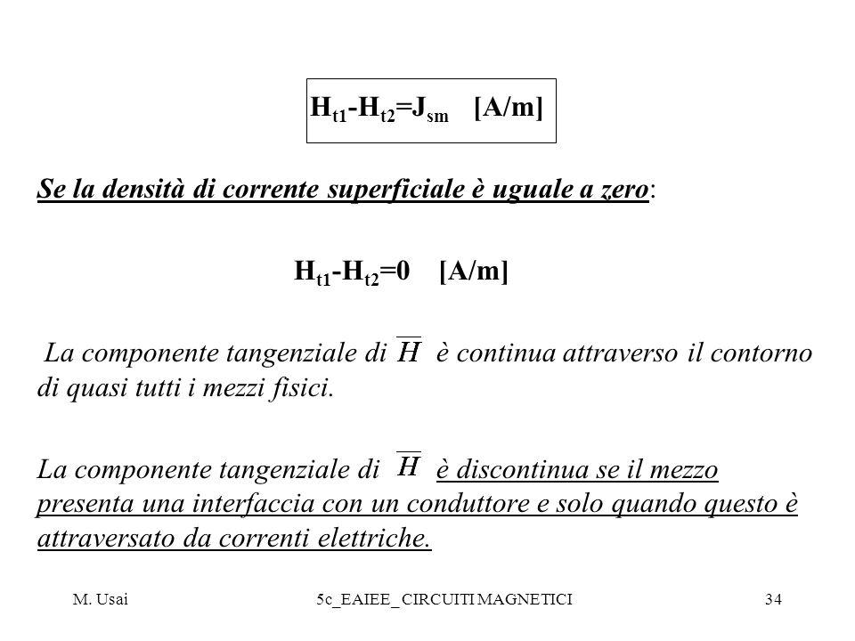 M. Usai5c_EAIEE_ CIRCUITI MAGNETICI34 H t1 -H t2 =J sm [A/m] Se la densità di corrente superficiale è uguale a zero: H t1 -H t2 =0 [A/m] La componente