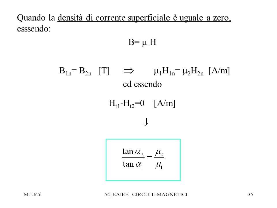 M. Usai5c_EAIEE_ CIRCUITI MAGNETICI35 Quando la densità di corrente superficiale è uguale a zero, esssendo: B= H B 1n = B 2n [T] 1 H 1n = 2 H 2n [A/m]