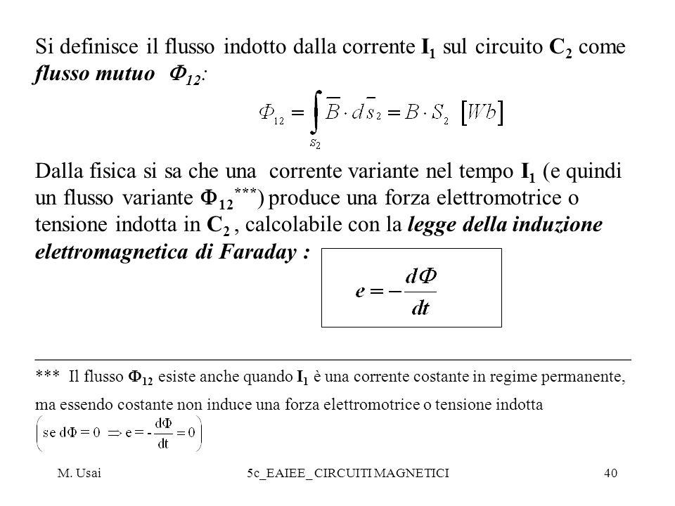 M. Usai5c_EAIEE_ CIRCUITI MAGNETICI40 Si definisce il flusso indotto dalla corrente I 1 sul circuito C 2 come flusso mutuo 12 : Dalla fisica si sa che