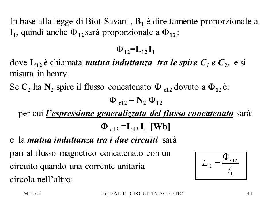 M. Usai5c_EAIEE_ CIRCUITI MAGNETICI41 In base alla legge di Biot-Savart, B 1 é direttamente proporzionale a I 1, quindi anche 12 sarà proporzionale a