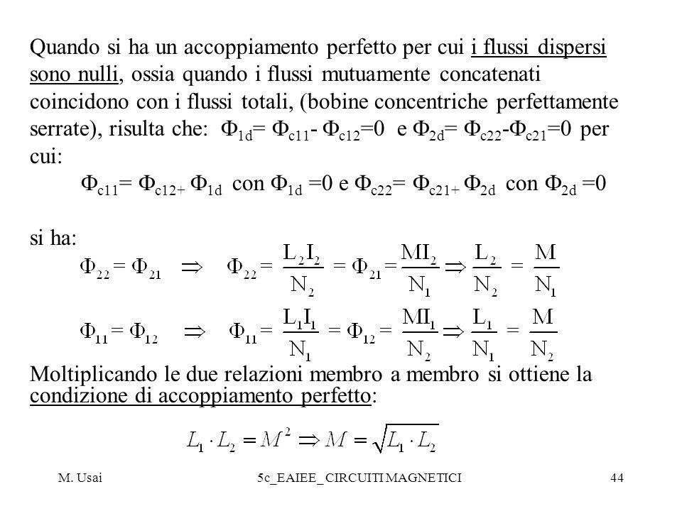 M. Usai5c_EAIEE_ CIRCUITI MAGNETICI44 Quando si ha un accoppiamento perfetto per cui i flussi dispersi sono nulli, ossia quando i flussi mutuamente co