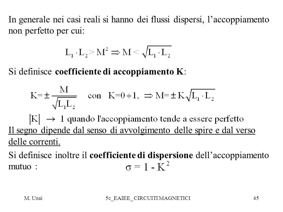 M. Usai5c_EAIEE_ CIRCUITI MAGNETICI45 In generale nei casi reali si hanno dei flussi dispersi, laccoppiamento non perfetto per cui: Si definisce coeff