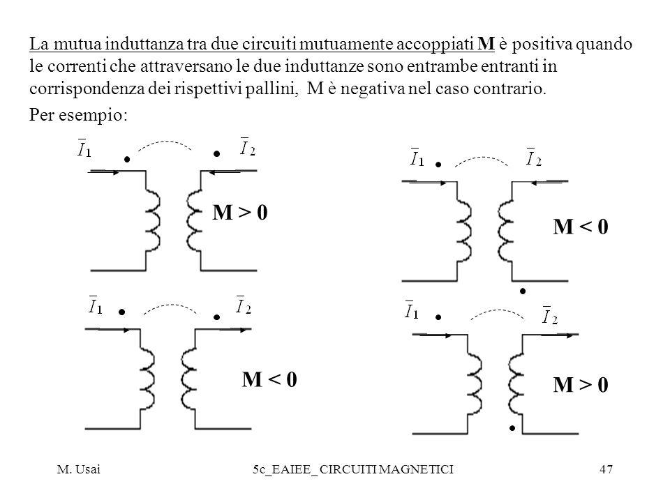 M. Usai5c_EAIEE_ CIRCUITI MAGNETICI47 La mutua induttanza tra due circuiti mutuamente accoppiati M è positiva quando le correnti che attraversano le d
