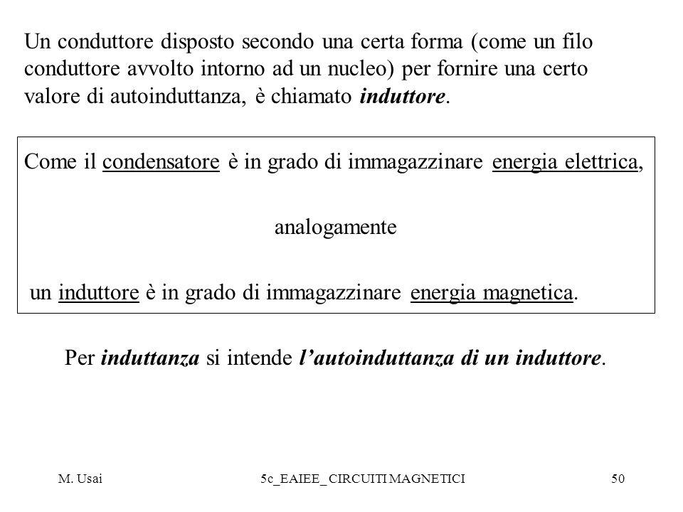 M. Usai5c_EAIEE_ CIRCUITI MAGNETICI50 Un conduttore disposto secondo una certa forma (come un filo conduttore avvolto intorno ad un nucleo) per fornir