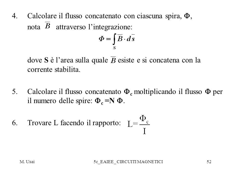 M. Usai5c_EAIEE_ CIRCUITI MAGNETICI52 4.Calcolare il flusso concatenato con ciascuna spira,, nota attraverso lintegrazione: dove S è larea sulla quale