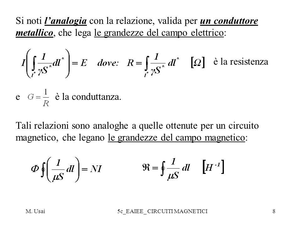 M. Usai5c_EAIEE_ CIRCUITI MAGNETICI8 Si noti lanalogia con la relazione, valida per un conduttore metallico, che lega le grandezze del campo elettrico