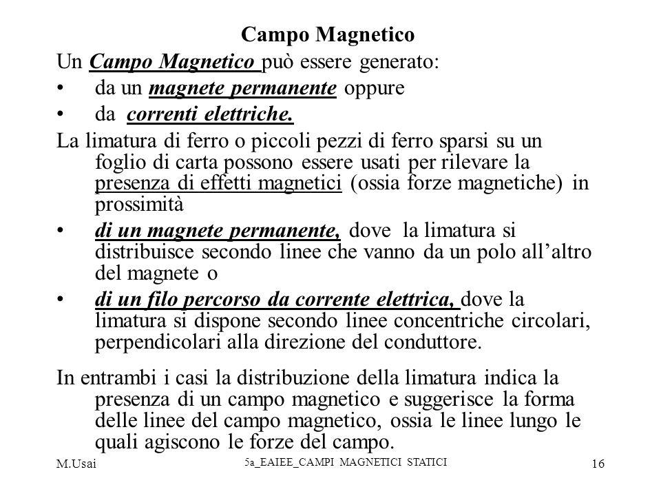M.Usai 5a_EAIEE_CAMPI MAGNETICI STATICI 16 Campo Magnetico Un Campo Magnetico può essere generato: da un magnete permanente oppure da correnti elettri