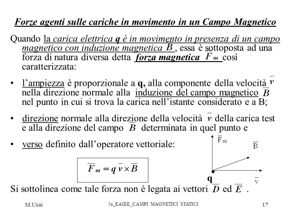 M.Usai 5a_EAIEE_CAMPI MAGNETICI STATICI 17 Forze agenti sulle cariche in movimento in un Campo Magnetico Quando la carica elettrica q è in movimento i