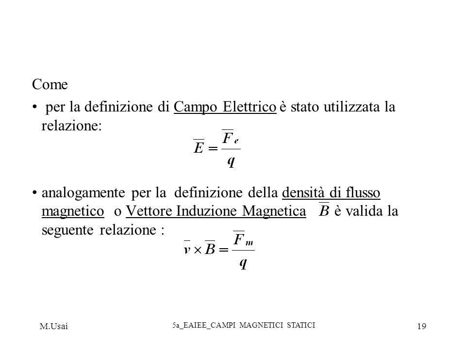 M.Usai 5a_EAIEE_CAMPI MAGNETICI STATICI 19 Come per la definizione di Campo Elettrico è stato utilizzata la relazione: analogamente per la definizione