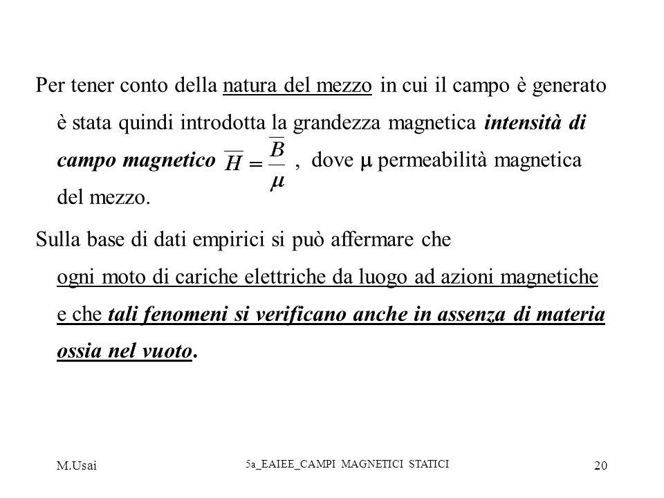 M.Usai 5a_EAIEE_CAMPI MAGNETICI STATICI 20 Per tener conto della natura del mezzo in cui il campo è generato è stata quindi introdotta la grandezza ma