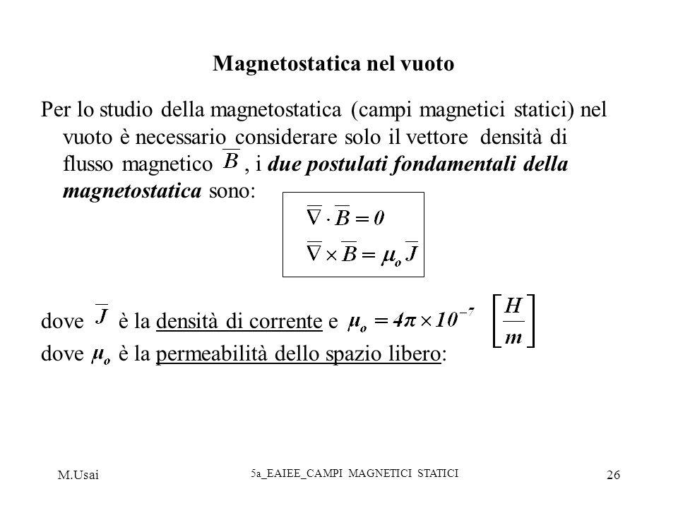 M.Usai 5a_EAIEE_CAMPI MAGNETICI STATICI 26 Magnetostatica nel vuoto Per lo studio della magnetostatica (campi magnetici statici) nel vuoto è necessari