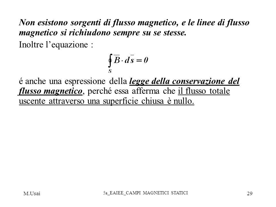 M.Usai 5a_EAIEE_CAMPI MAGNETICI STATICI 29 Non esistono sorgenti di flusso magnetico, e le linee di flusso magnetico si richiudono sempre su se stesse
