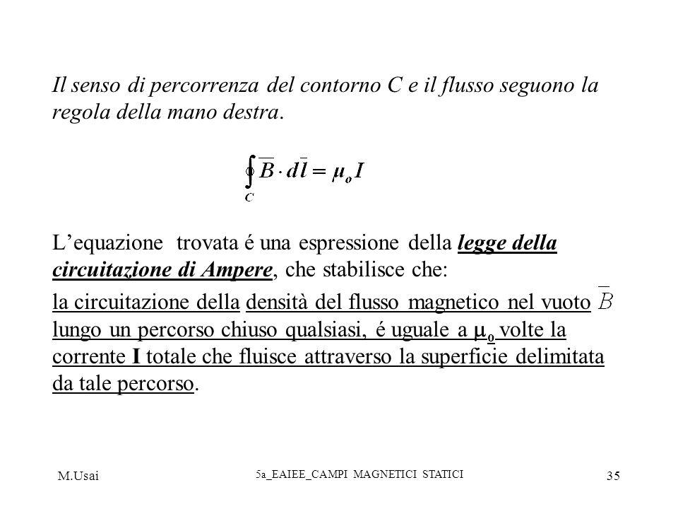 M.Usai 5a_EAIEE_CAMPI MAGNETICI STATICI 35 Il senso di percorrenza del contorno C e il flusso seguono la regola della mano destra. Lequazione trovata