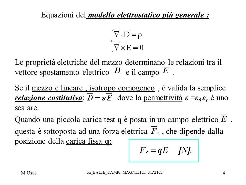 M.Usai 5a_EAIEE_CAMPI MAGNETICI STATICI 4 Equazioni del modello elettrostatico più generale : Le proprietà elettriche del mezzo determinano le relazio