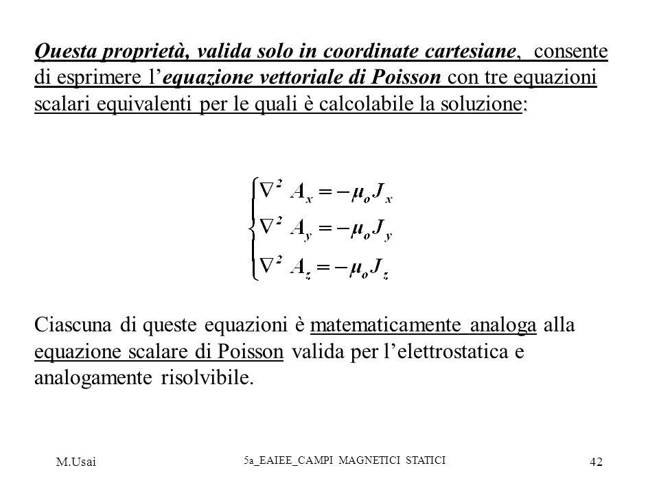 M.Usai 5a_EAIEE_CAMPI MAGNETICI STATICI 42 : Questa proprietà, valida solo in coordinate cartesiane, consente di esprimere lequazione vettoriale di Po