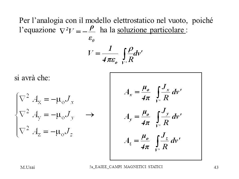 M.Usai 5a_EAIEE_CAMPI MAGNETICI STATICI 43 Per lanalogia con il modello elettrostatico nel vuoto, poiché lequazione ha la soluzione particolare : si a