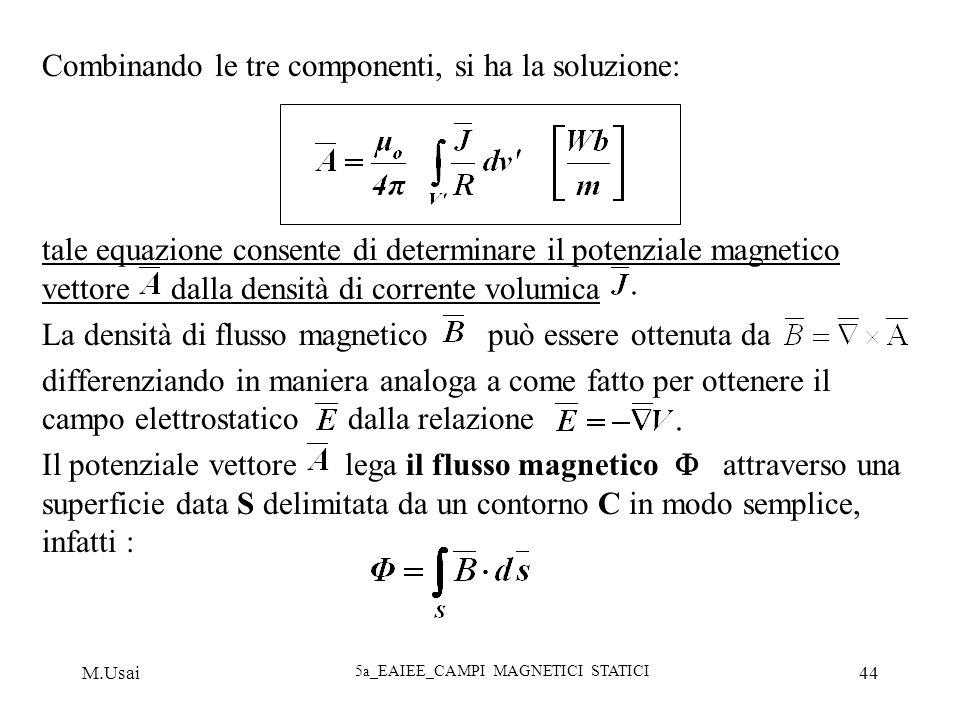 M.Usai 5a_EAIEE_CAMPI MAGNETICI STATICI 44 Combinando le tre componenti, si ha la soluzione: tale equazione consente di determinare il potenziale magn