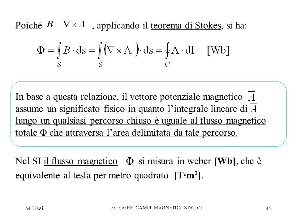 M.Usai 5a_EAIEE_CAMPI MAGNETICI STATICI 45 Poiché, applicando il teorema di Stokes, si ha: In base a questa relazione, il vettore potenziale magnetico