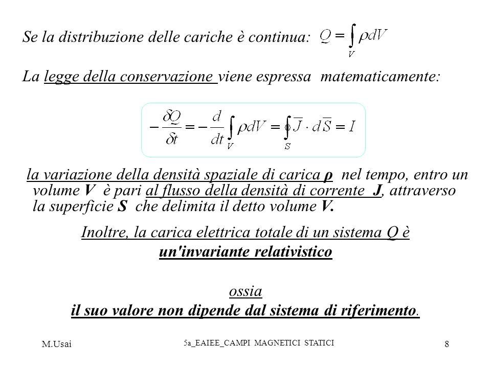 M.Usai 5a_EAIEE_CAMPI MAGNETICI STATICI 8 Se la distribuzione delle cariche è continua: La legge della conservazione viene espressa matematicamente: l