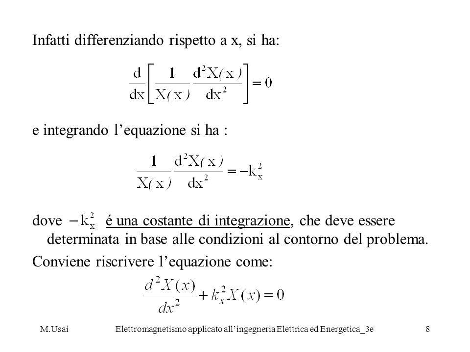 M.UsaiElettromagnetismo applicato allingegneria Elettrica ed Energetica_3e19 Esempio di verifica della analiticità di: poiché: derivando si ha: che sono soddisfate ovunque nel piano z.
