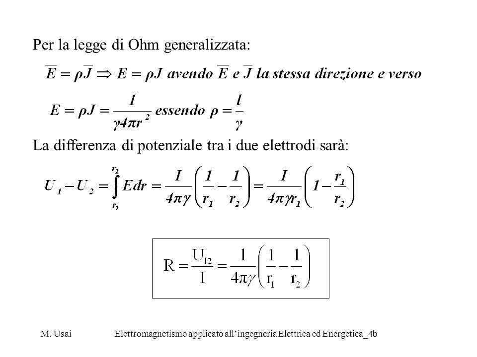 M. UsaiElettromagnetismo applicato allingegneria Elettrica ed Energetica_4b Per la legge di Ohm generalizzata: La differenza di potenziale tra i due e