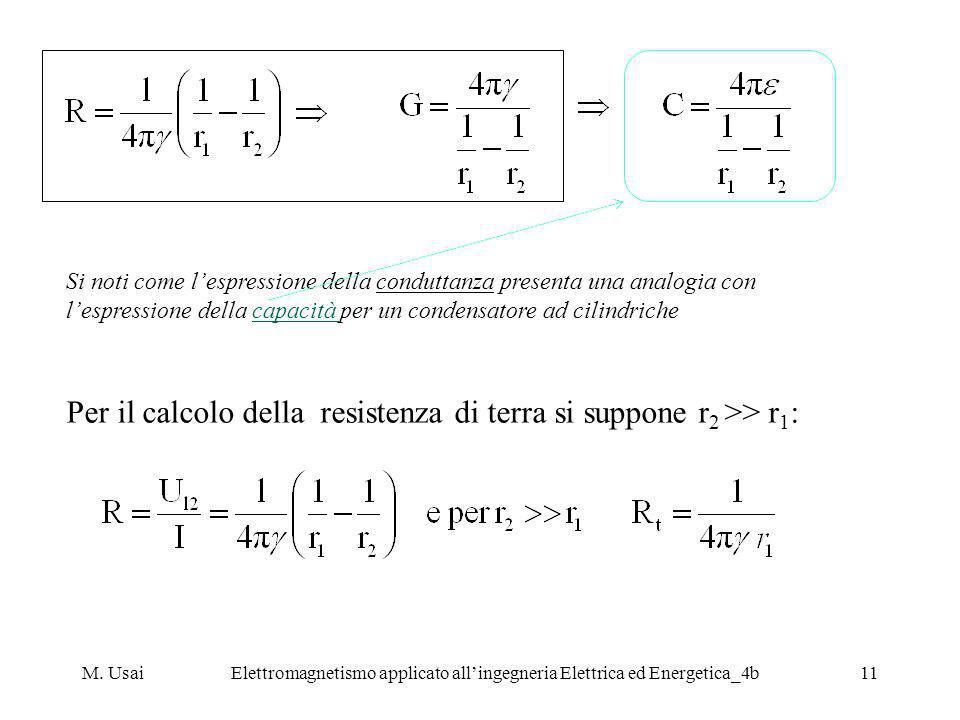 M. UsaiElettromagnetismo applicato allingegneria Elettrica ed Energetica_4b11 Si noti come lespressione della conduttanza presenta una analogia con le