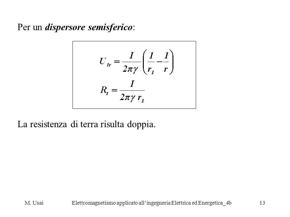 M. UsaiElettromagnetismo applicato allingegneria Elettrica ed Energetica_4b13 Per un dispersore semisferico: La resistenza di terra risulta doppia.