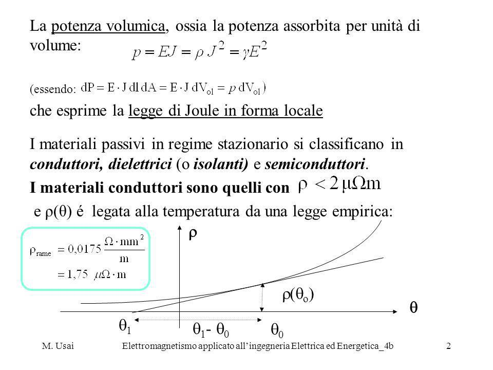 M. UsaiElettromagnetismo applicato allingegneria Elettrica ed Energetica_4b2 La potenza volumica, ossia la potenza assorbita per unità di volume: (ess