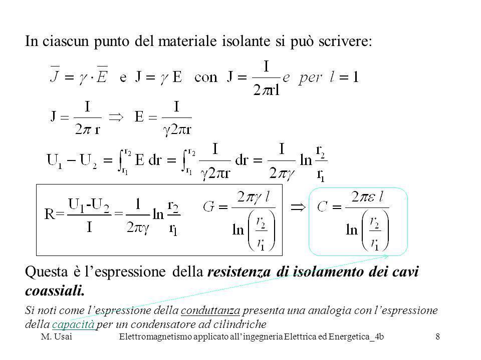 M. UsaiElettromagnetismo applicato allingegneria Elettrica ed Energetica_4b8 In ciascun punto del materiale isolante si può scrivere: Questa è lespres
