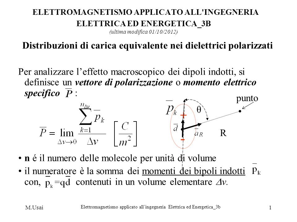 M.Usai Elettromagnetismo applicato allingegneria Elettrica ed Energetica_3b 1 ELETTROMAGNETISMO APPLICATO ALL'INGEGNERIA ELETTRICA ED ENERGETICA_3B (u
