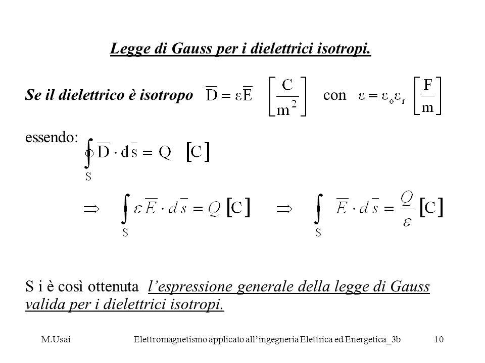 M.UsaiElettromagnetismo applicato allingegneria Elettrica ed Energetica_3b10 Legge di Gauss per i dielettrici isotropi. Se il dielettrico è isotropo c