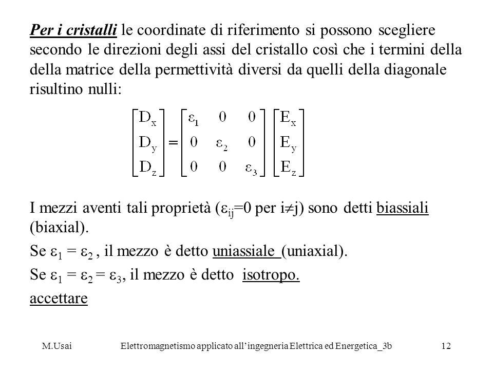 M.UsaiElettromagnetismo applicato allingegneria Elettrica ed Energetica_3b12 Per i cristalli le coordinate di riferimento si possono scegliere secondo