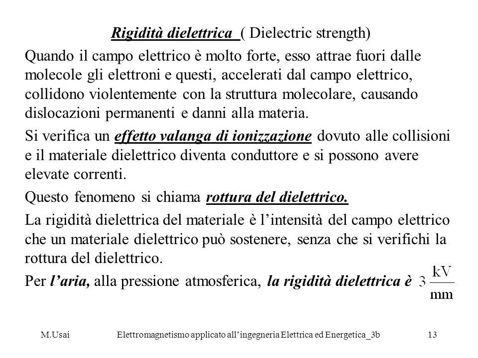 M.UsaiElettromagnetismo applicato allingegneria Elettrica ed Energetica_3b13 Rigidità dielettrica ( Dielectric strength) Quando il campo elettrico è m