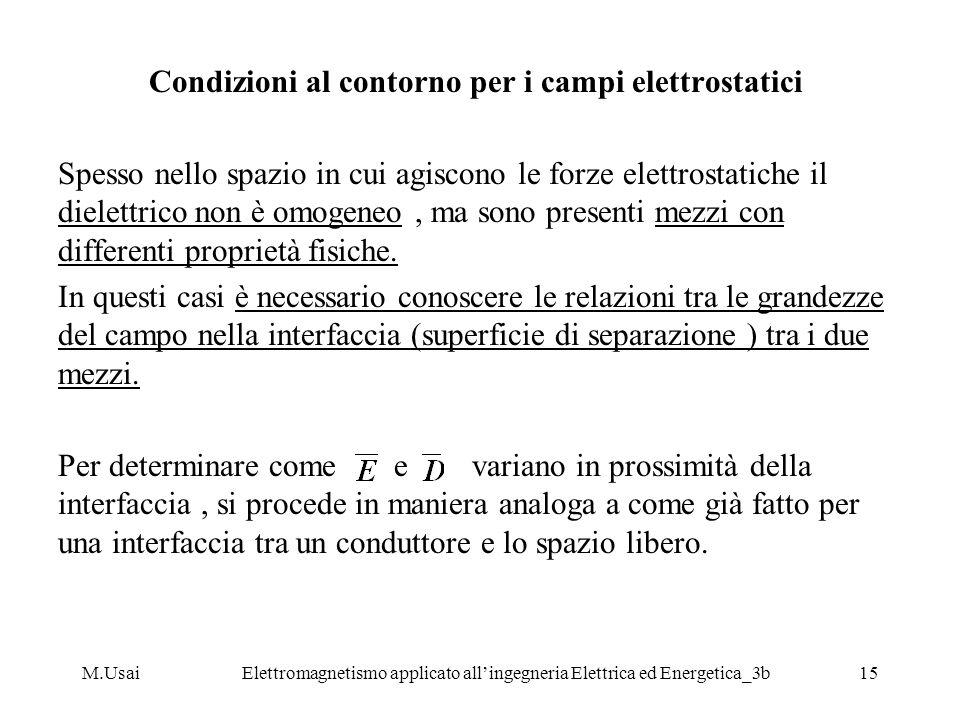 M.UsaiElettromagnetismo applicato allingegneria Elettrica ed Energetica_3b15 Condizioni al contorno per i campi elettrostatici Spesso nello spazio in