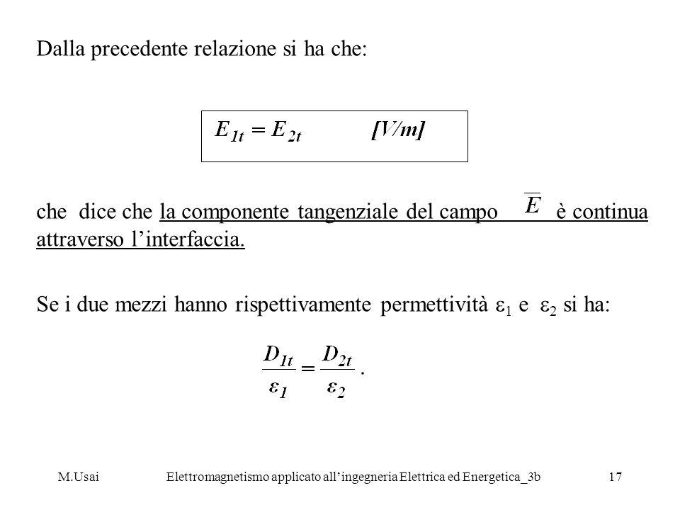 M.UsaiElettromagnetismo applicato allingegneria Elettrica ed Energetica_3b17 Dalla precedente relazione si ha che: che dice che la componente tangenzi